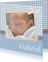 Danksagung Geburt Foto & klassische Karos hellblau