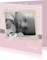 Danksagung Geburt Foto & klassische Karos rosa