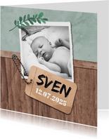 Danksagung Geburt Foto und Anhänger Holzlook