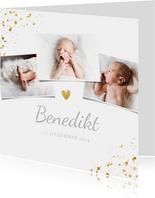 Danksagung Geburt Fotos und Goldakzente