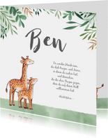 Danksagung Geburt Giraffen und Blätter Fotos innen