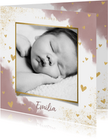 Danksagung Geburt in Aquarelloptik mit Foto & Herzen
