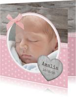 Danksagung Geburt klassisch Fotos und Schleife