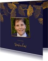 Danksagung Kommunion blau mit Foto & Ginkgoblätter Stempel