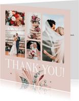 Danksagung rosé Fotocollage 'thank you' und Trockenblumen