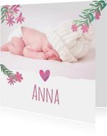 Danksagung zur Geburt Foto und Blumen rosa