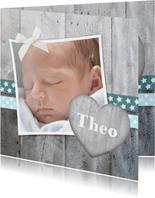 Danksagung zur Geburt Foto und Herz Schleife blau