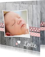 Danksagung zur Geburt Foto und Herzen rosa