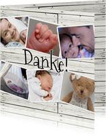 Danksagung zur Geburt Fotocollage auf Holzlook