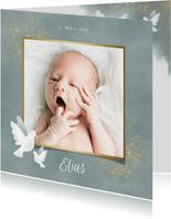 Danksagung zur Geburt Fotos mit Tauben blau