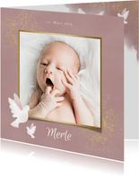 Danksagung zur Geburt Fotos mit Tauben rosé