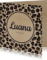 Danksagung zur Geburt Leopardenprint Kraftpapier Foto innen