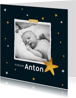 Danksagung zur Geburt mit Foto und Sternen
