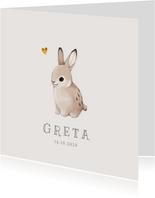Danksagung zur Geburt mit Kaninchen und Foto Innenseite