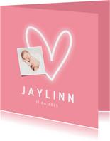 Danksagung zur Geburt rosa mit Fotos und Herz
