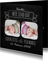 Danksagung zur Geburt Zwillinge Fotos Kreideoptik