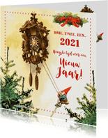 De kabouter luidt het nieuwe jaar in aan de koekoeksklok