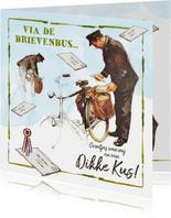 De postbode brengt een ouderwets kaartje met een kus