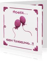 Delfts Blauwe Ballonnen Geboortekaart