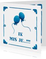 Delfts Blauwe Ballonnen Liefde kaart