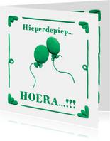Delfts Blauwe Ballonnen Verjaardagskaart