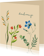 Denk aan je bloem vriendschapskaart