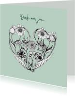 Denk aan je kaart met bloemen in hart vorm