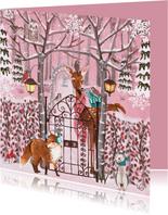 Dieren in de sneeuw in een roze bos.