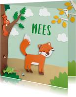 Geboortekaartjes - Dieren in het bos met vosje geboortekaartje