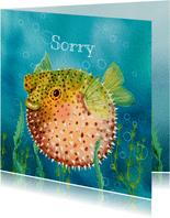 Dierenkaart bied excuses aan met deze grappige kogelvis