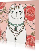 Dierenkaart - Bohemian kat met kleurplaat
