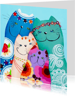 Dierenkaart bohemian katten