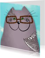 Dierenkaart grijze kat met bril