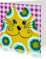 Dierenkaart hippie kat