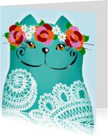 Dierenkaart kat lace