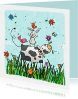 Dierenkaart koe konijn en vogel