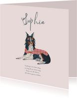 Dierenkaart lief hondje roze
