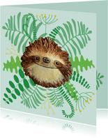 Dierenkaart luiaard in het oerwoud