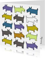 Dierenkaarten - Dierenkaart met honden in blauw en oker