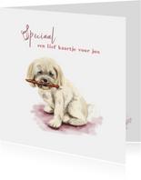 Dierenkaart tekening van een lief hondje