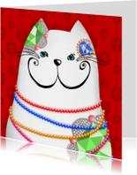 Dierenkaart witte kat sieraden