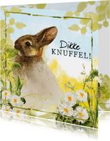 Dikke knuffel kaart met lief konijntje