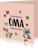 Dikke knuffel oma - hearts and flowers - moederdagkaart