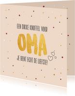 Dikke knuffel voor oma - gold - moederdagkaart