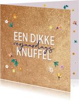 Dikke verjaardagsknuffel - golden - verjaardagskaart