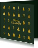 Donkergroene kerstkaart met goudlook kerstbomen