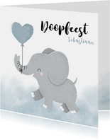 Doopfeest uitnodiging met olifantje en blauwe ballon