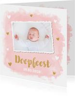 Doopkaart foto waterverf roze hartjes