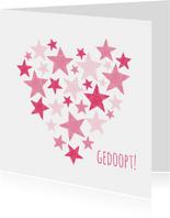 Doopkaart roze sterren in hart