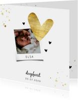 Doopkaartje met gouden spetters en hartjes